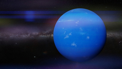 planet Neptune in front of the Milky Way galaxy