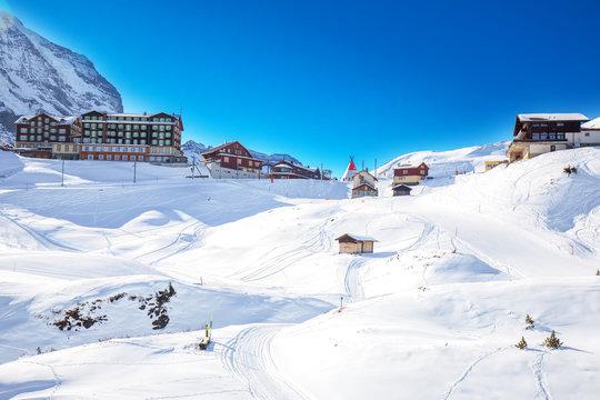 Jungfrau ski resort under Eiger, Monch and Jungfrau peaks in Swiss Alps, Grindelwald, Wengen, Switzerland