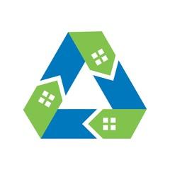 recycle home logo vector.