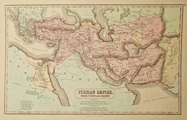 Persian Empire. Ancient map of the world. Ancient map of the world . Published by George Philip and son at London 1857 and  are not subject to copyright.