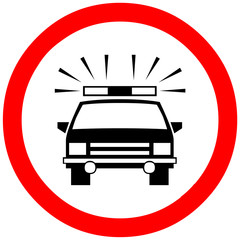 police reserved way, passage, control, checkpoint, stop warning sign symbol on white background.