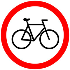 bike road, way, passage warning sign symbol on white background.