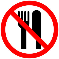 No Eating sign. Eating not allowed. Red prohibition symbol sign