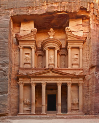 The Treasury (Al-Khazneh) temple in the ancient Arab Nabatean Kingdom city of Petra