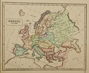 Europe in 1789. Ancient map of the world . Published by George Philip and son at London 1857 and  are not subject to copyright.