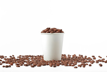 Paper cup with coffee. Recycling paper