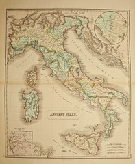 Italy. Ancient map of the world . Published by George Philip and son at London 1857 and  are not subject to copyright.