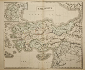 Asia minor. Ancient map of the world . Published by George Philip and son at London 1857 and  are not subject to copyright.