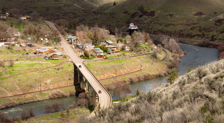 Maupin Oregon Downtown Aerial View Deschutes River Highway 197