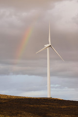 Wind Turbine Green Energy Rain Weather Rainbow