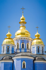 Domes of the Mikhailovsky cathedral, Kiev, Ukraine