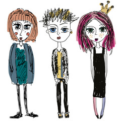 Teenagers group. Fashion young skinny girls and boy, sketch style. Doodle illustration of punks