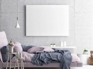Mock up poster, hipster bedroom, 3d illustration
