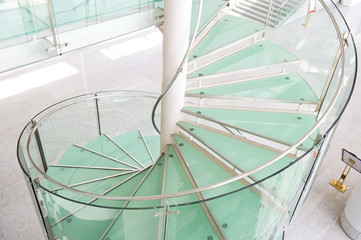 modern glass staircase in a conference center.
