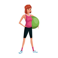 Woman exercising, cartoon icon over white background. colorful design. vector illustration