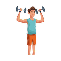 man with dumbbells,  cartoon icon over white background. colorful design. vector illustration
