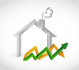 home profits up and down arrow business graph