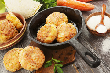 Vegetarian cutlets with cabbage and carrot