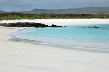 Beautiful white sand beach at Cerro Brujo, on San Cristobal Island, Galapagos
