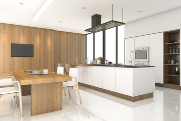 3d rendering wood kitchen with white decor near window