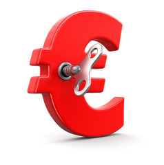 Euro Sign with winding key. Image with clipping path