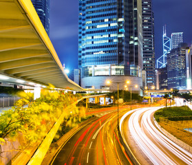 traffic in modern city at night, Hong Kong.