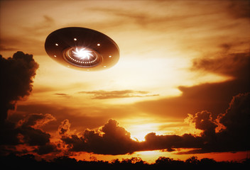 Garden Poster UFO 3D illustration with photography. Alien spaceship under the sunset.