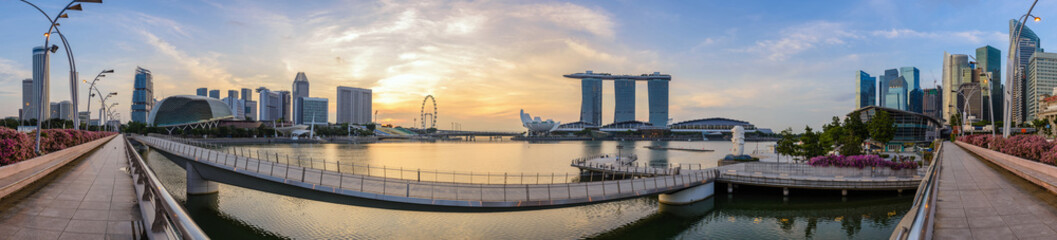 Singapore panorama city skyline when sunrise, Marina Bay, Singapore