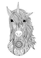 Unicorn head zendoodle design for t shirt design,design element and adult coloring book pages. Stock vector.