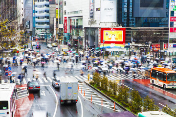 Scramble intersection in Shibuya on rainy day