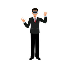 man with virtual reality headset over white background. colorful design. vector illustration