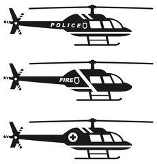 Emergency concept. Set of different silhouettes of medical, police and fire helicopter isolated on white background. Vector illustration.