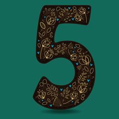 Dark Brown Number Five with Golden Floral Decor
