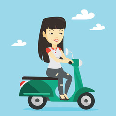 Woman riding scooter vector illustration.