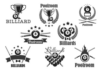 Billiards contest vector icons or emblems set