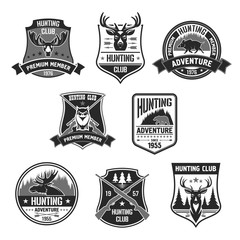 Vetor badges for hunter club or hunting adventure