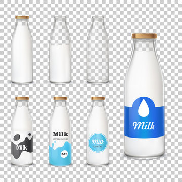 Set of vector icons glass bottles empty and with a milk in a realistic style. Milk bottles with different label patterns isolated on transparent background