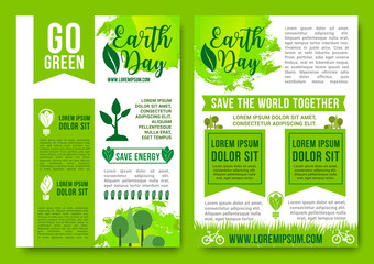 Earth Day vector brochures green nature energy
