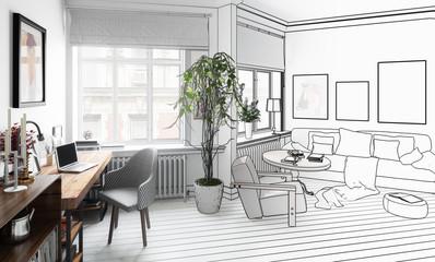 Wohnzimmer mit Einrichtung (Zeichnung)