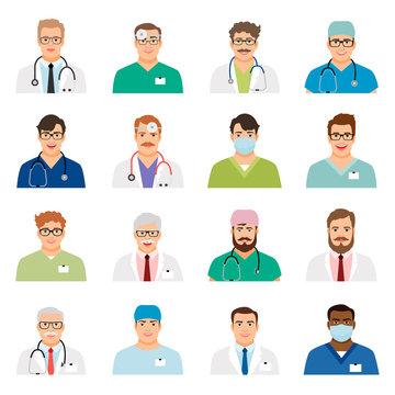 Medicine physician men face portrait icons