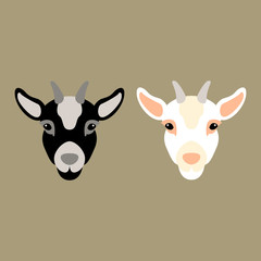 kid  goat head vector illustration style Flat set