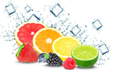 Citrus and berry splash and ice cubes isolated