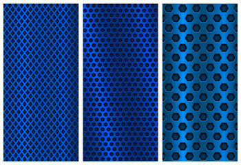 Blue metal perforated backgrounds. Brochure design templates. Steel flyer layouts