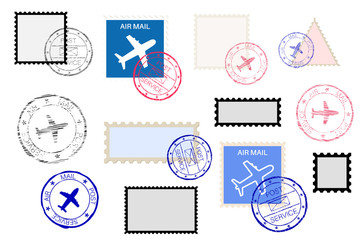 Mail stamps collection and ink impress set