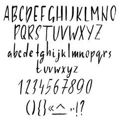 Hand drawn ink simple font. Modern brush lettering. Grunge style alphabet. Vector illustration.