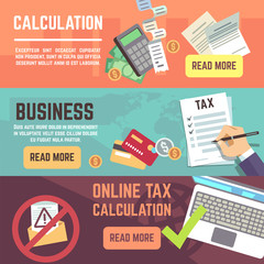 Online tax accountanting, taxation, business finance vector banners set