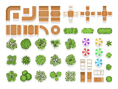 Top view landscaping architecture city park plan vector symbols, wooden benches and trees