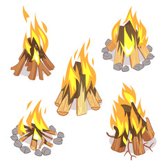 Campfire, outdoor bonfire with burned logs cartoon vector set