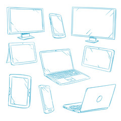 Doodle digital devices, tablet, pc, laptop, cell phone line vector icons