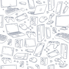 Computer game, device, social gaming vector sketch doodles seamless pattern